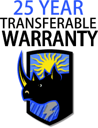 25 year transferable warranty with Rhino Shield